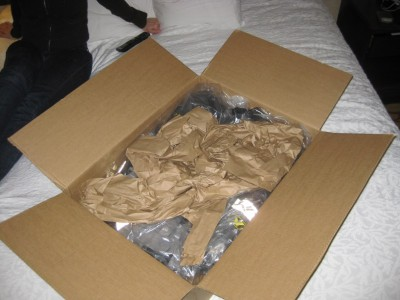 Opening the box with the jacket