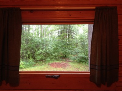 View from inside the cabin