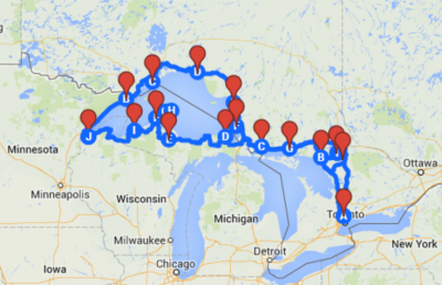 Planned route for the whole trip.