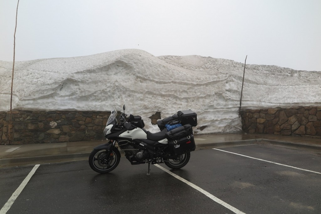 Still lots of snow on top of mountain pass and cold!