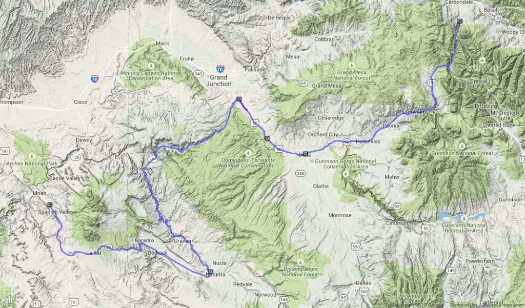 Route from Carbondale to MOAB