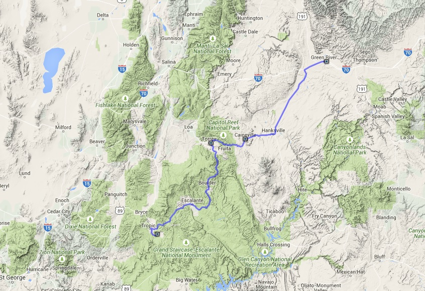 Green River to Kodachrome Basin State park