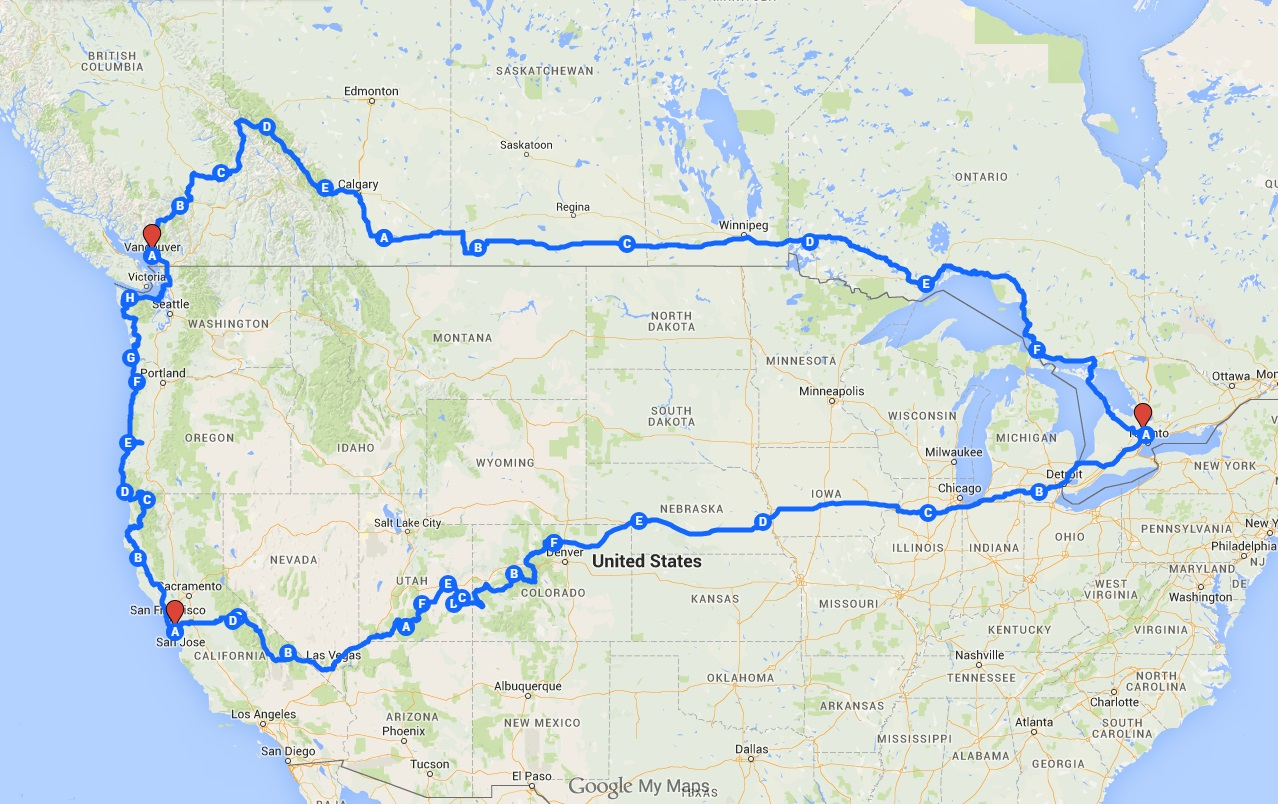 Cross Country USCanada Our Ride - Us canada road map