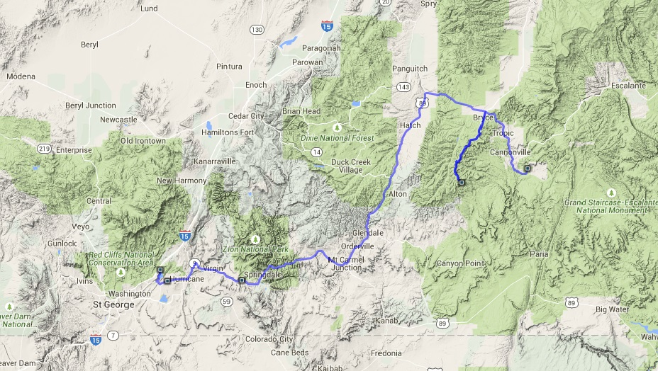 Day 10, Kodachrome Basin state park to St George KOA, through Bryce and Zion parks