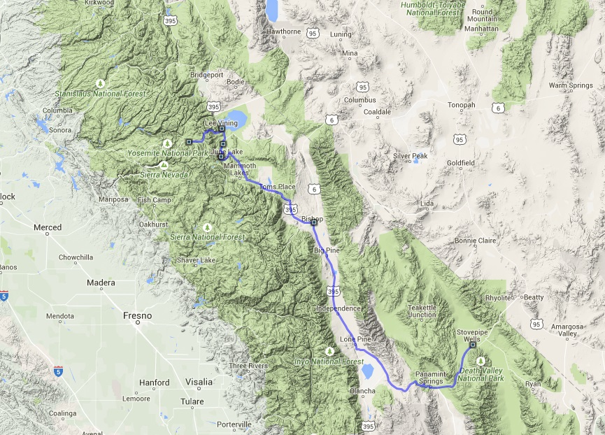From Death Valley to Yosemite park