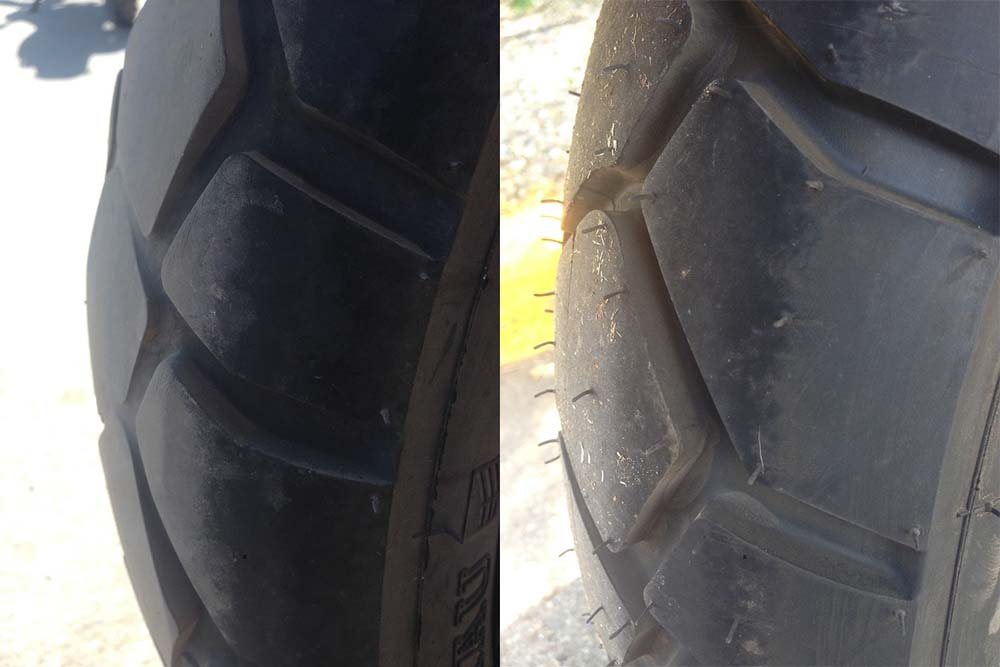 old tire, new tire